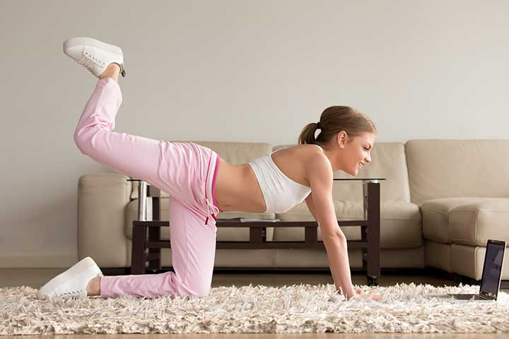 Leg Kickback is a effective exercise for reducing hip dips